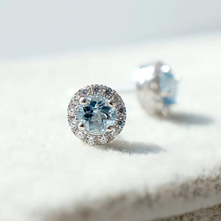 Round Aquamarine Stud Earrings with Diamond Halo in White Gold Plated Sterling Silver