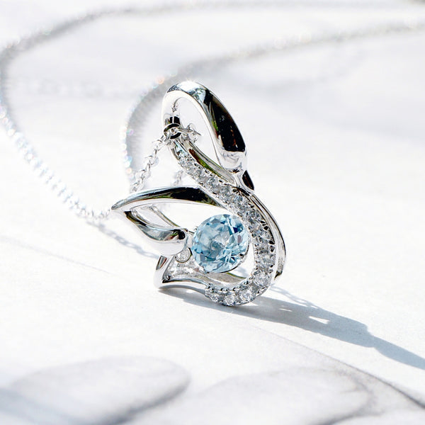 Aquamarine Swan Pendant Necklace White Gold Women