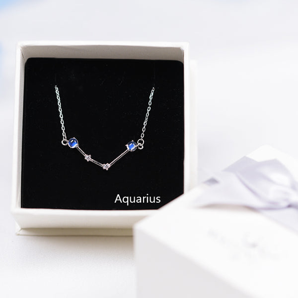 Constellation Moonstone Pendant Necklace in White Gold Plated Silver Gemstone Jewelry Women