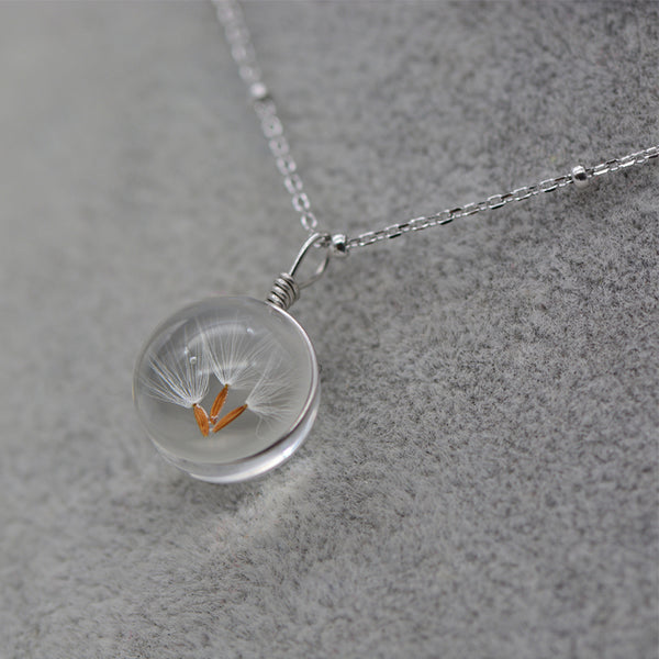 Artificial Crystal Glass Herbage Pendant Necklace Silver Unique Handmade Jewelry Women beautiful