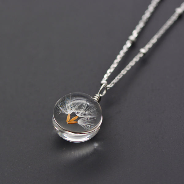 Artificial Crystal Glass Herbage Pendant Necklace Silver Unique Handmade Jewelry Women cute