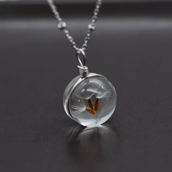 Artificial Crystal Glass Herbage Pendant Necklace Silver Unique Handmade Jewelry Women dandelion seed