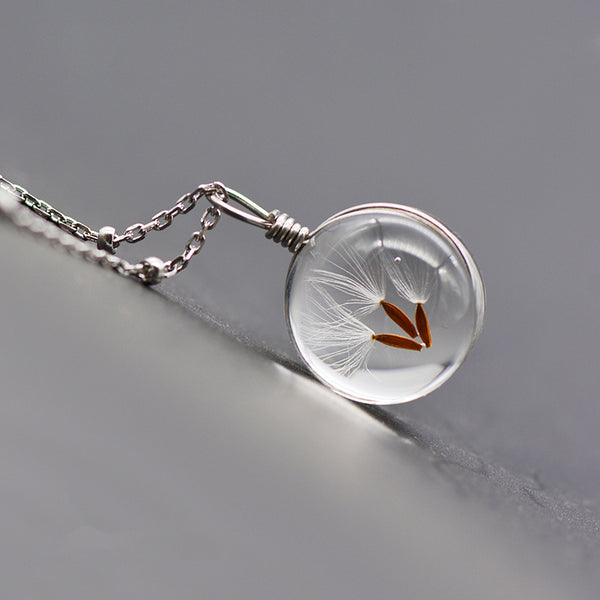 Artificial Crystal Glass Herbage Pendant Necklace Silver Unique Handmade Jewelry Women gift