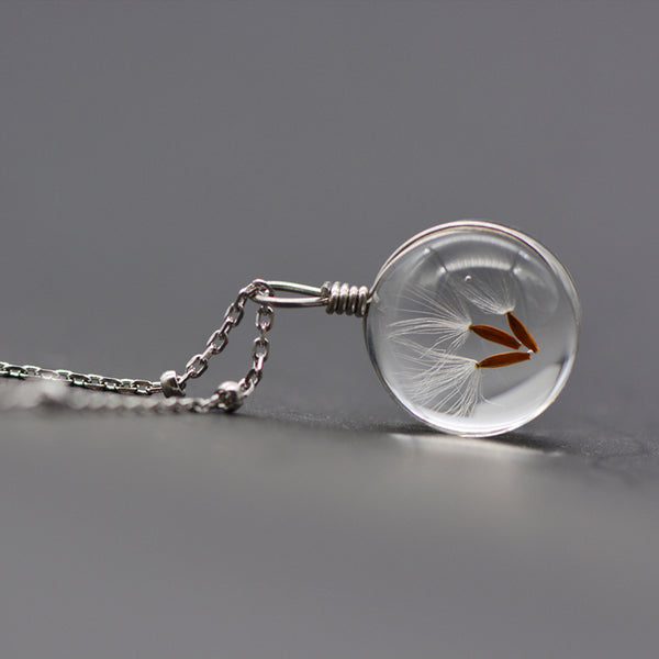 Artificial Crystal Glass Herbage Pendant Necklace Silver Unique Handmade Jewelry Women presents