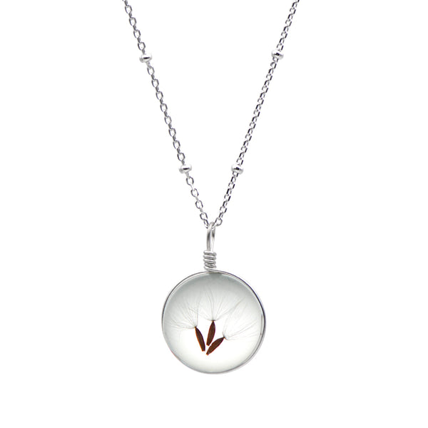 Artificial Crystal Glass Herbage Pendant Necklace Silver Unique Handmade Jewelry Women
