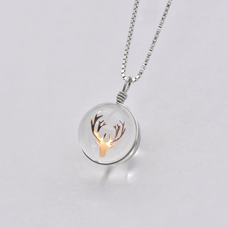 Artificial Crystal Pendant Necklace in Sterling Silver Unique Handmade Jewelry Women gift