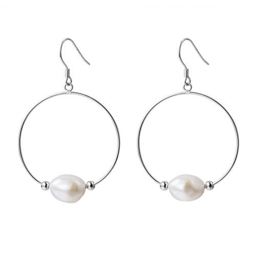 Baroque Pearl Drop Earrings Silver Jewelry Accessories Gifts Women white