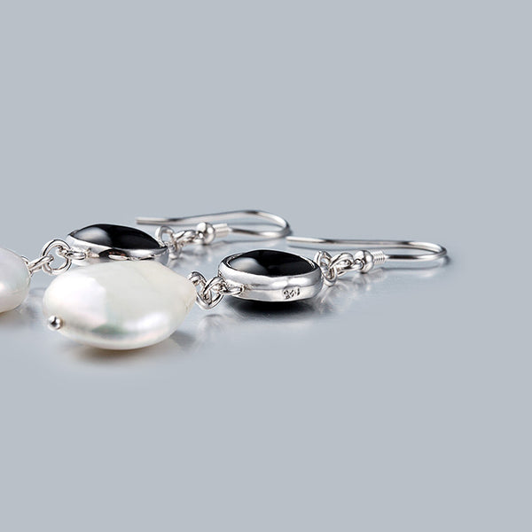 Baroque Pearl Onyx Drop Earrings Silver Jewelry Accessories Women beautiful