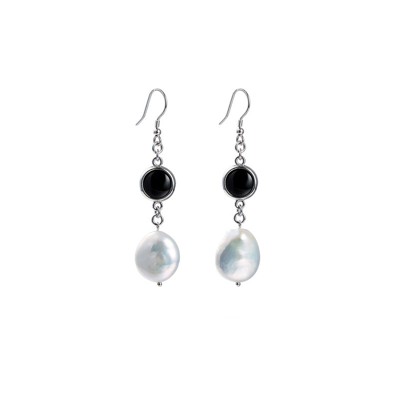 Baroque Pearl Onyx Drop Earrings Silver Jewelry Accessories Women