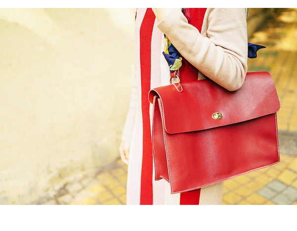 Beautiful Ladies Red Leather Handbags Leather Shoulder Bag for Women chic