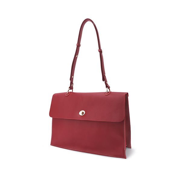 Women's Red Leather Satchel Over the Shoulder Bag Handbags Purse for Women
