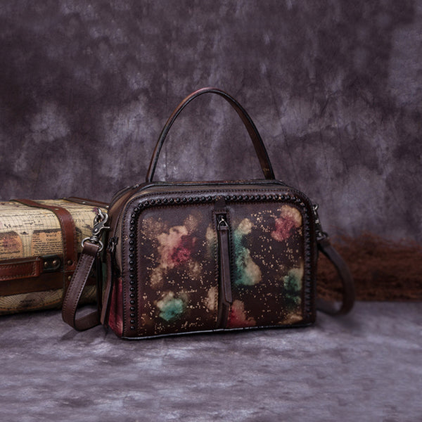 Vintage Genuine Leather Handbag Crossbody Shoulder Bags Purses Women multi-colored