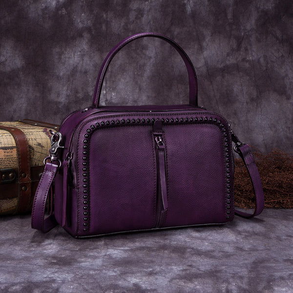 Vintage Genuine Leather Handbag Crossbody Shoulder Bags Purses Women purple