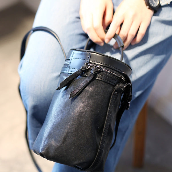 Black Leather Bucket Bag Womens Handbags Crossbody Bags for Women Accessories