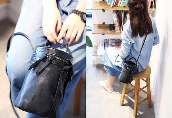 Black Leather Bucket Bag Womens Handbags Crossbody Bags for Women Genuine Leather