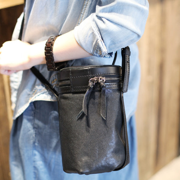 Black Leather Bucket Bag Womens Handbags Crossbody Bags for Women small