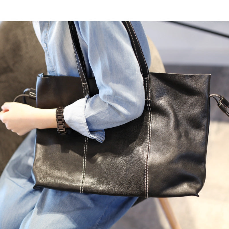Black Leather Womens Tote Bag Handbags Shoulder Bag for Women Accessories