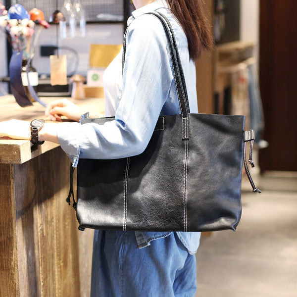 Black Leather Womens Tote Bag Handbags Shoulder Bag for Women beautiful