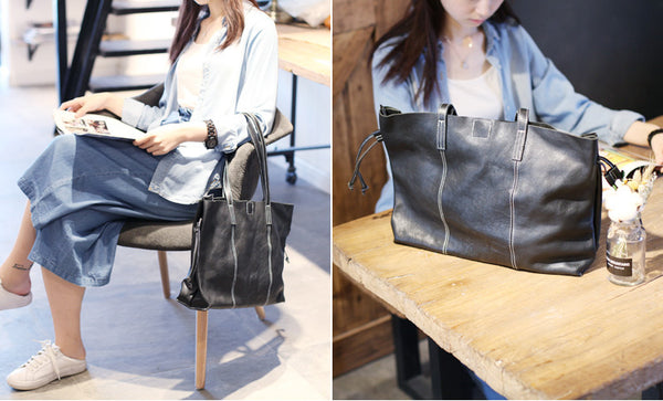 Black Leather Womens Tote Bag Handbags Shoulder Bag for Women gift