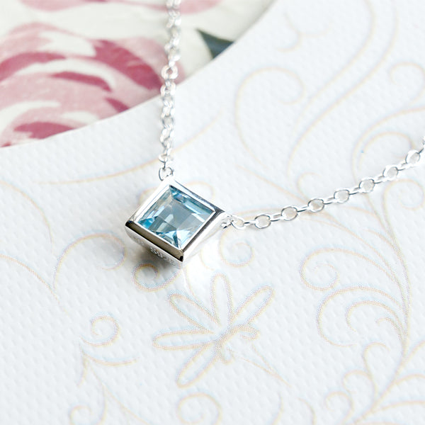 Blue Aquamarine Pendant Necklace March Birthstone