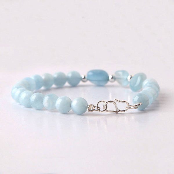 Handmade Aquamarine Silver Beads Bracelets March Birthstone Jewelry Accessories Gift for Women