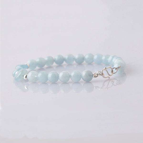 Blue Aquamarine Sterling Silver Bead Bracelets Handmade Jewelry Accessories Gift Women adorable chic