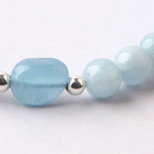 Blue Aquamarine Sterling Silver Bead Bracelets Handmade Jewelry Accessories Gift Women adorable cute