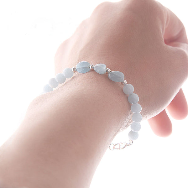 Blue Aquamarine Sterling Silver Bead Bracelets Handmade Jewelry Accessories Gift Women elegant