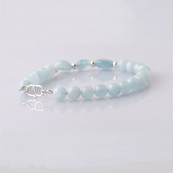 Blue Aquamarine Sterling Silver Bead Bracelets Handmade Jewelry Accessories Gift Women fine