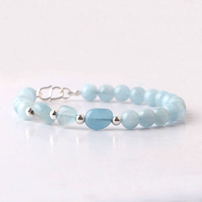 Blue Aquamarine Sterling Silver Bead Bracelets Handmade Jewelry Accessories Gift Women