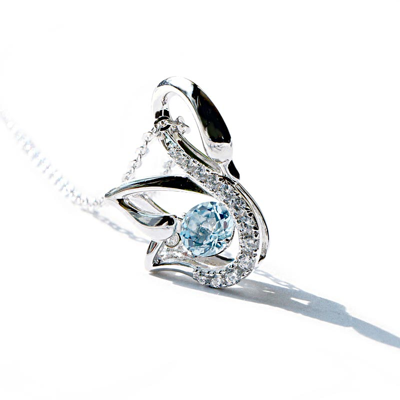 Blue Aquamarine Swan Pendant Necklace March Birthstone Jewelry