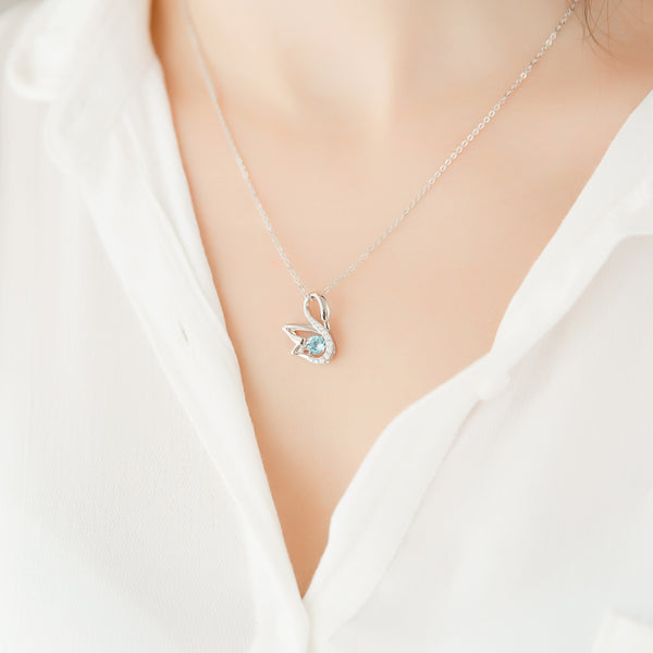 Blue Aquamarine Swan Pendant Necklace White Gold Plated Sterling Silver For Women