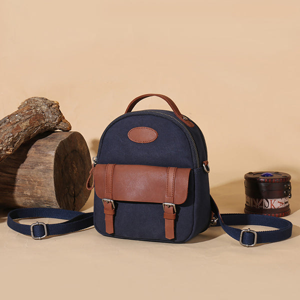 Blue Canvas Leather Handbag Small Rucksack Backpack Purse for Women Accessories