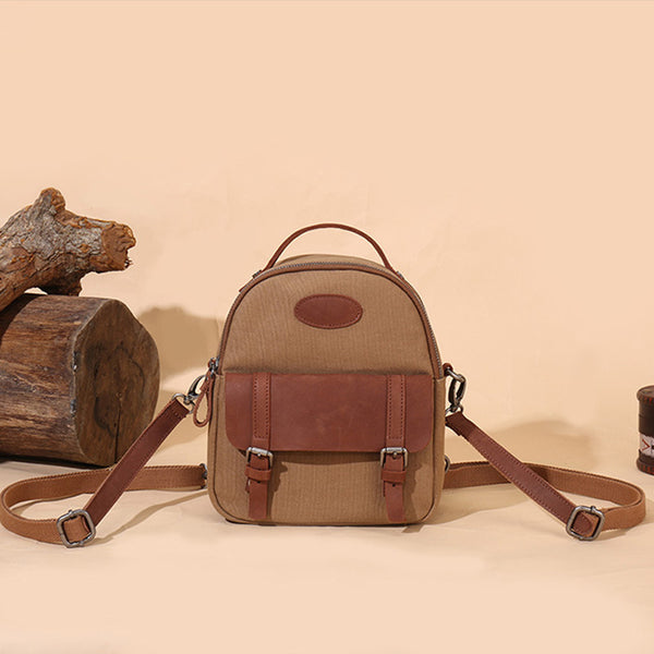 Blue Canvas Leather Handbag Small Rucksack Backpack Purse for Women Brown
