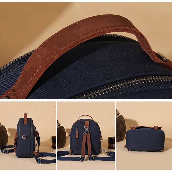 Blue Canvas Leather Handbag Small Rucksack Backpack Purse for Women Durable