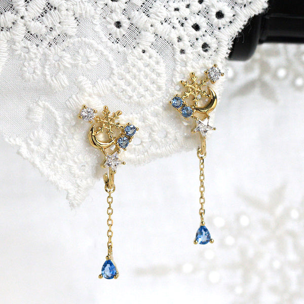 Blue Clip On Earrings Silver Plated Gold Stud Earrings for Women fashionable