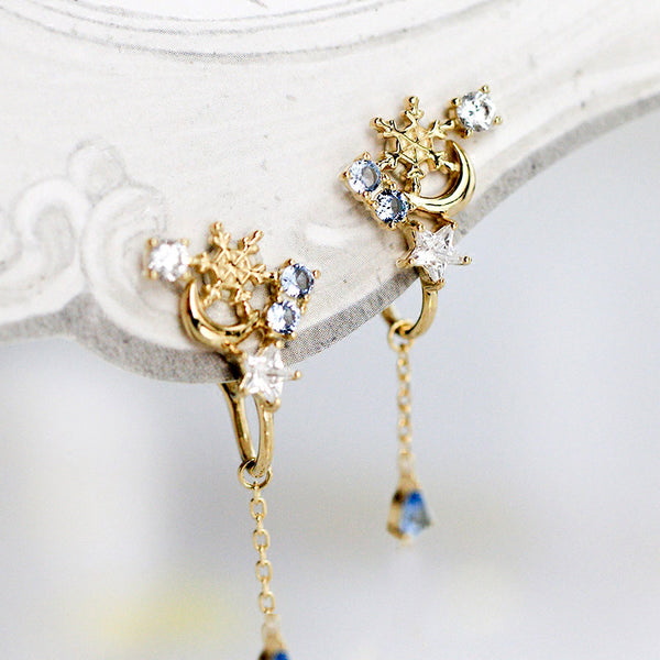 Blue Clip On Earrings Silver Plated Gold Stud Earrings for Women
