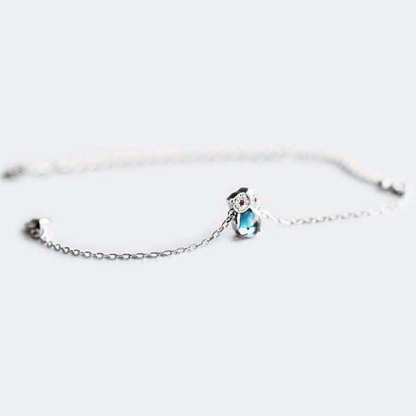 Blue Topaz Bracelet Gold Sterling Silver Jewelry Accessories Women adorable