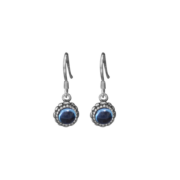 Blue Topaz Dangle Hook Earrings Sterling Silver Handmade Jewelry Accessories Gift Women Minimalism