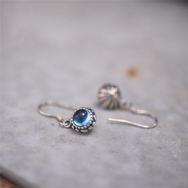 Blue Topaz Dangle Hook Earrings Sterling Silver Handmade Jewelry Accessories Gift Women adorable