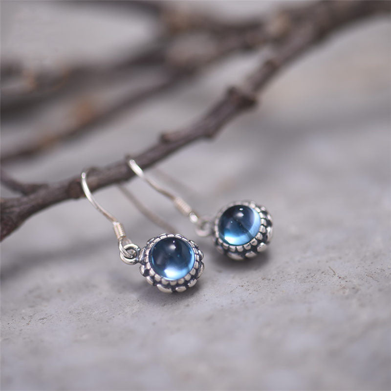 Blue Topaz Dangle Hook Earrings Sterling Silver Handmade Jewelry Accessories Gift Women