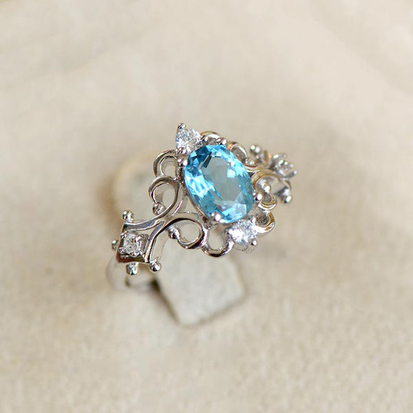 Blue Topaz Gold Silver Ring November Birthstone Handmade Jewelry Charm Jewelry