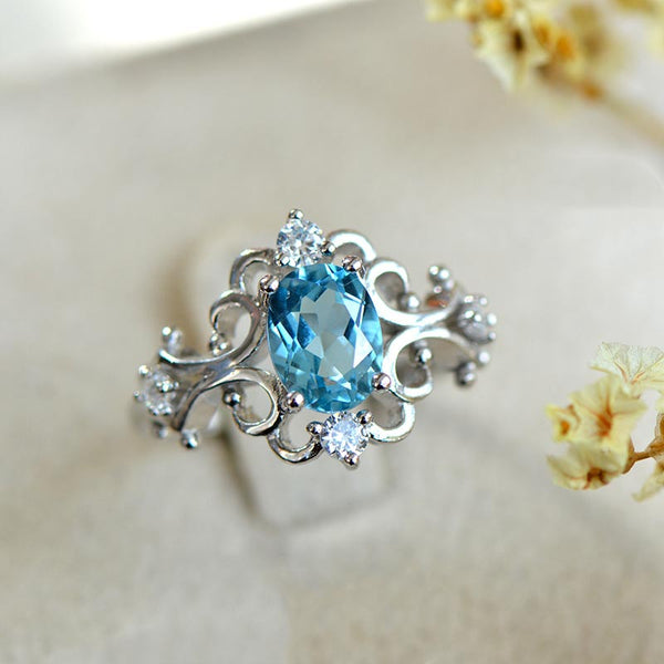 Blue Topaz Rings in White Gold Plated Sterling Silver November Birthstone Handmade Jewelry