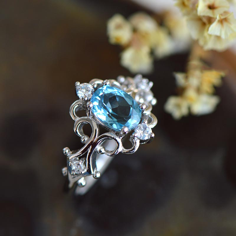 Blue-Topaz Gold Silver Ring November Birthstone Handmade Jewelry