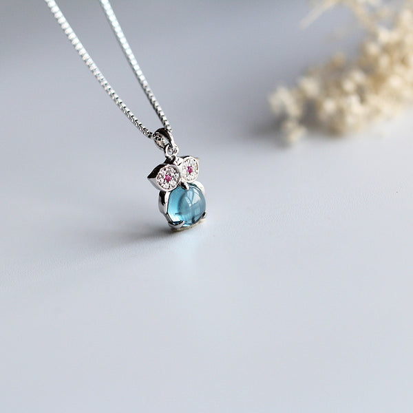 Cute Owl Topaz Pendant Necklace White Gold Plated Silver Handmade Gemstone Jewelry Women