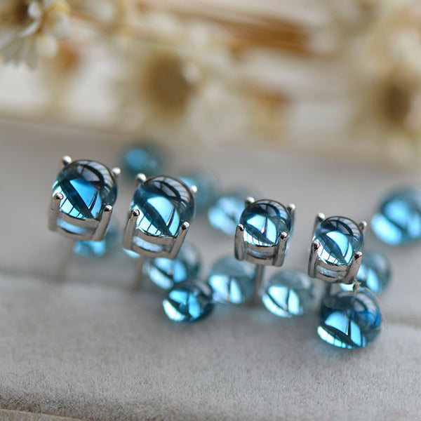 Blue Topaz Stud Earrings in White Gold Plated Sterling Silver November Birthstone Handmade Jewelry