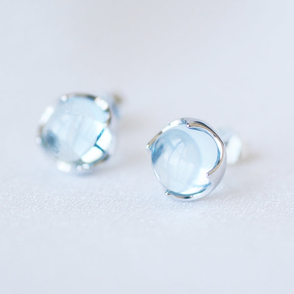 Blue Topaz Stud Earrings Silver November Birthstone Jewelry Accessories Women beautiful