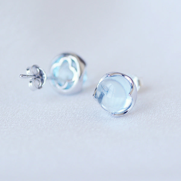 Blue Topaz Stud Earrings Silver November Birthstone Jewelry Accessories Women gemstone