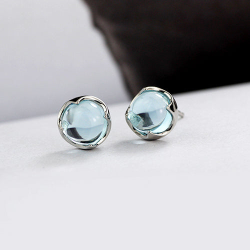 Blue Topaz Stud Earrings Silver November Birthstone Jewelry Accessories Women girls