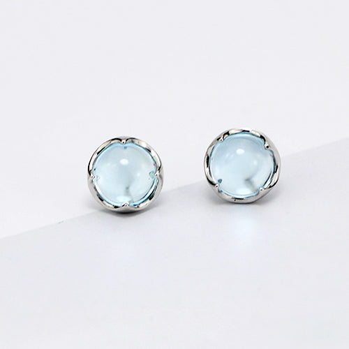 Blue Topaz Stud Earrings Silver November Birthstone Jewelry Accessories Women unique